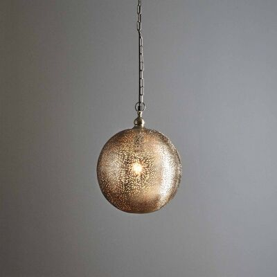 Orion Perforated Metal Pendant Light, Ball, Small, Nickel