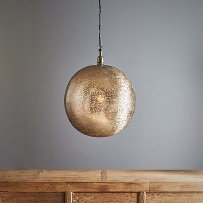 Orion Perforated Metal Pendant Light, Ball, Large, Nickel
