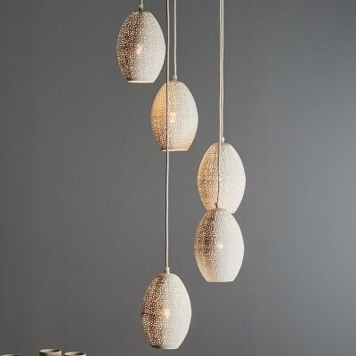Constellation Perforated Metal Cluster Pendant Light, White