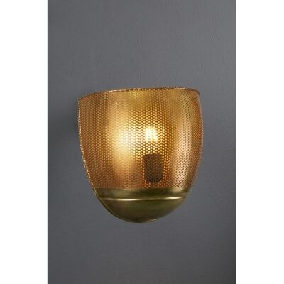 Riva Perforated Iron Wall Sconce, Antique Brass