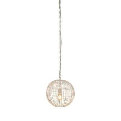 Cray Metal Wire Pendant Light, Ball, Small, White