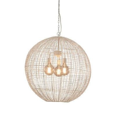 Cray Metal Wire Pendant Light, Ball, Large, White