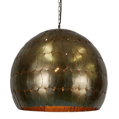 Pangolin Iron Scales Dome Pendant Light, Large, Pewter