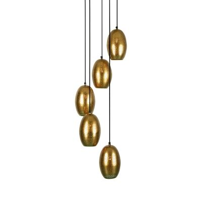 Constellation Perforated Metal Cluster Pendant Light, Brass