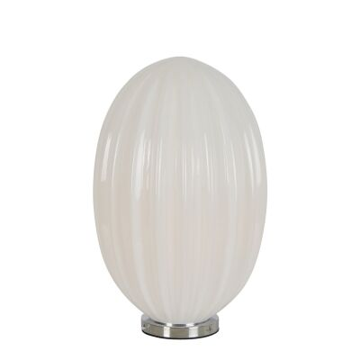 Costolette Ribbed Glass Pod Table Lamp, Small, Opal White