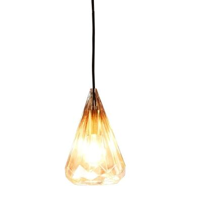 Kimberly Faceted Glass Pendant Light, Small, Champagne