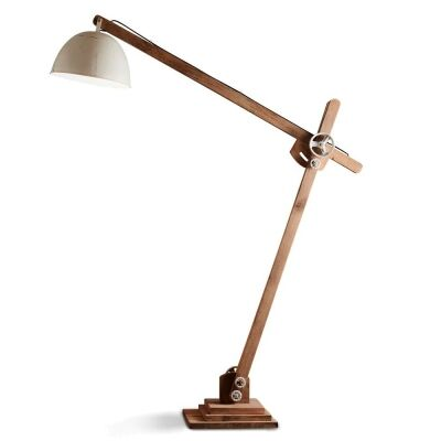 Archie Iron & Wood Articulated Floor Lamp, Natural / White