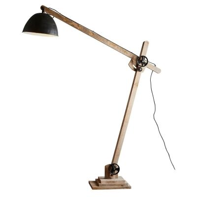 Archie Iron & Wood Articulated Floor Lamp, Natural / Black