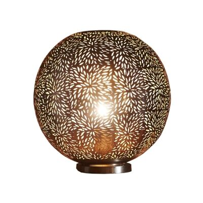 Orion Perforated Metal Round Table Lamp, Brass