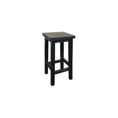 Moux Reclaimed Elm Timber Counter Stool, Black