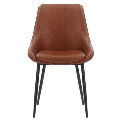 Domo Commercial Grade Faux Leather Dining Chair, Vintage Tan