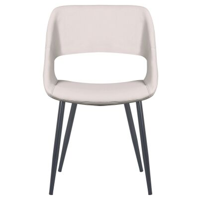 Nancy Commercial Grade Faux Leather Dining Chair, Light Grey
