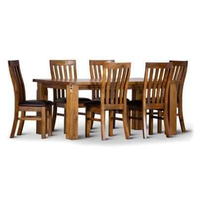 Serafin Rustic Pine Timber 7 Piece Dining Table Set, 180cm, with PU Seat Chair