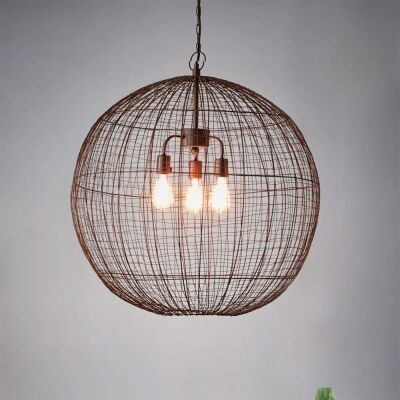 Cray Metal Wire Pendant Light, Ball, Large, Antique Copper