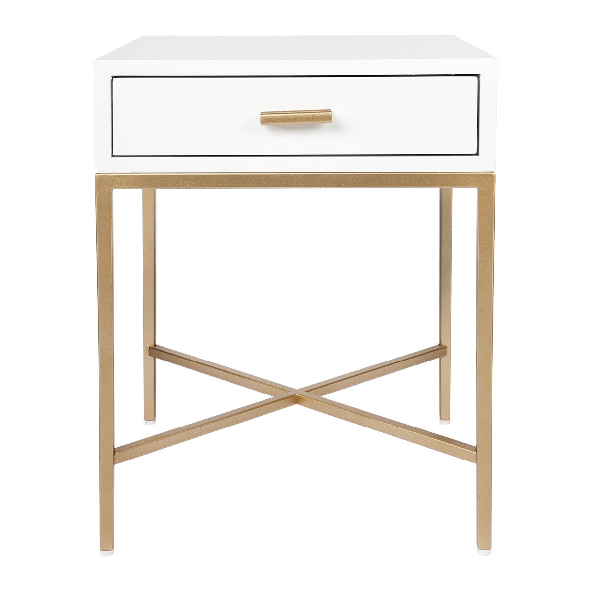 Nessa Bedside Table, White / Gold