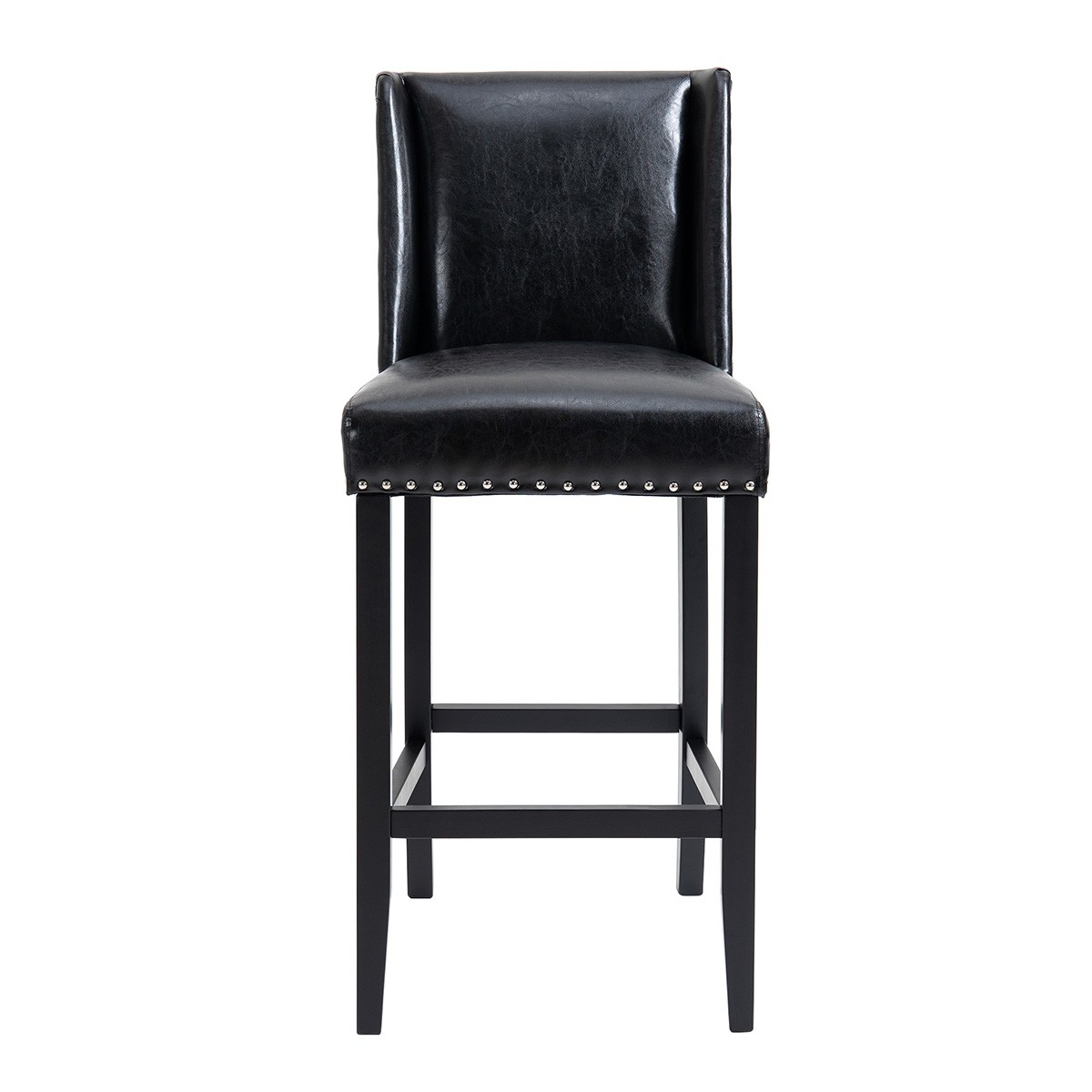 Gowrie Faux Leather Bar Stool, Black