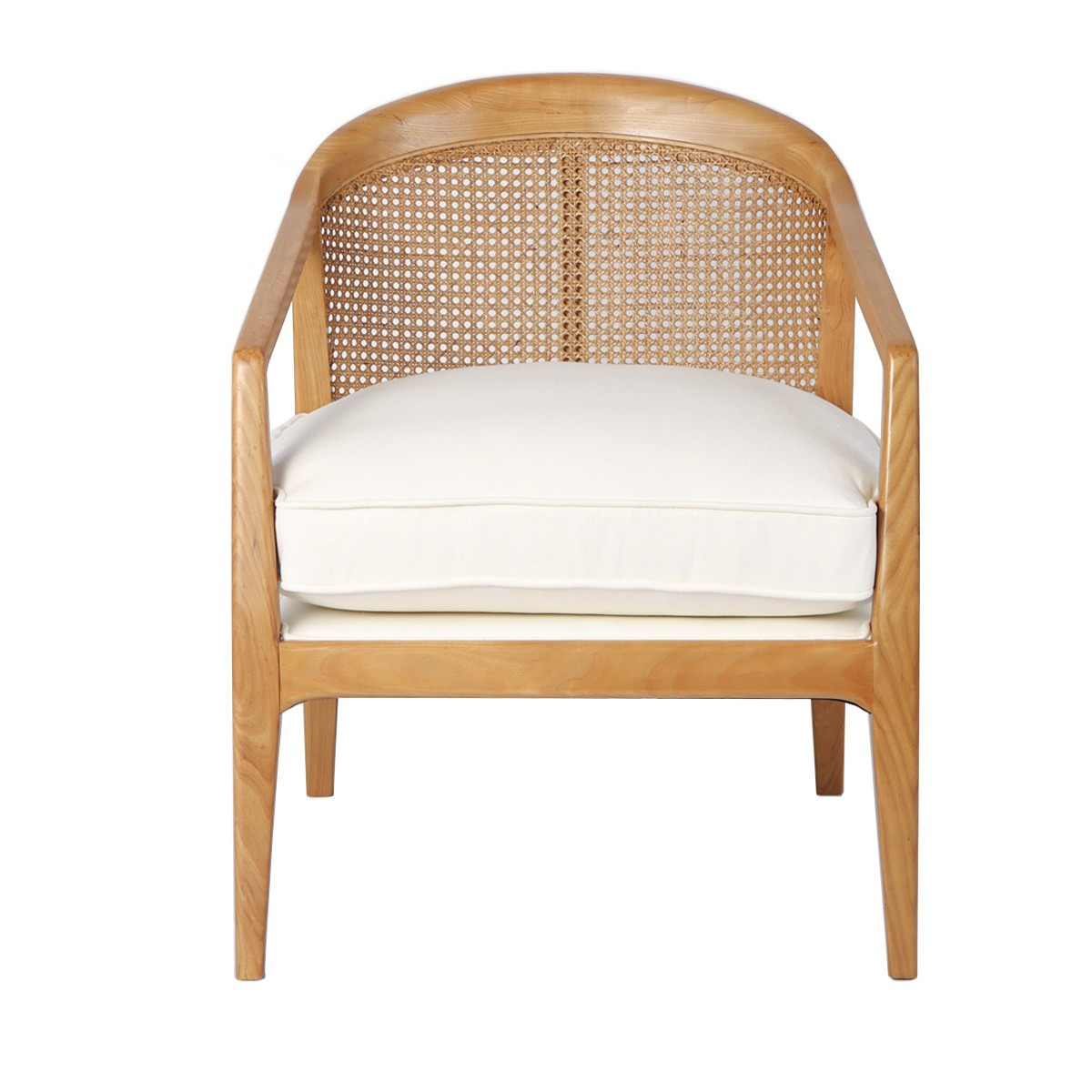 Willow Oak Timber & Rattan Occasional Armchair, Natural / Off White