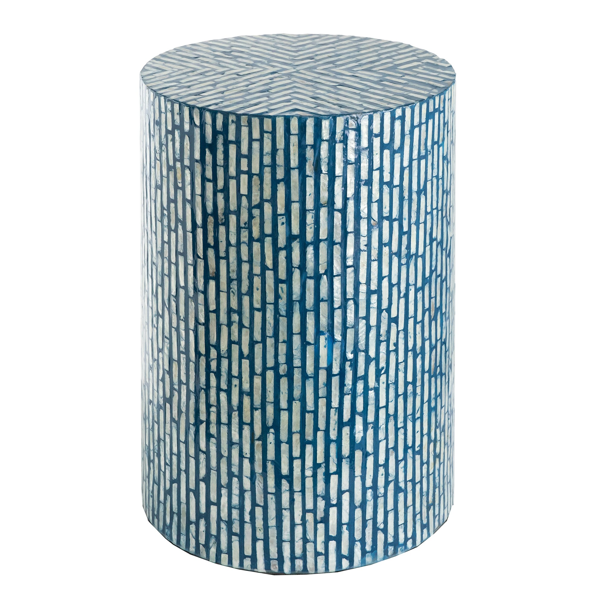 Gaidel Seashell Inlay Round Accent Stool / Side Table
