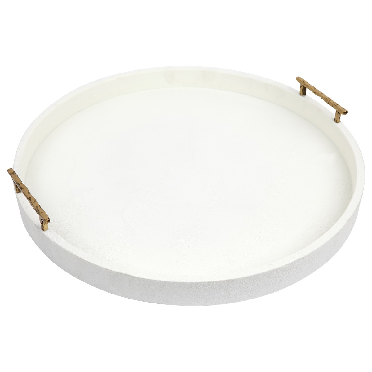Palm Springs Round Tray, Large, Off White