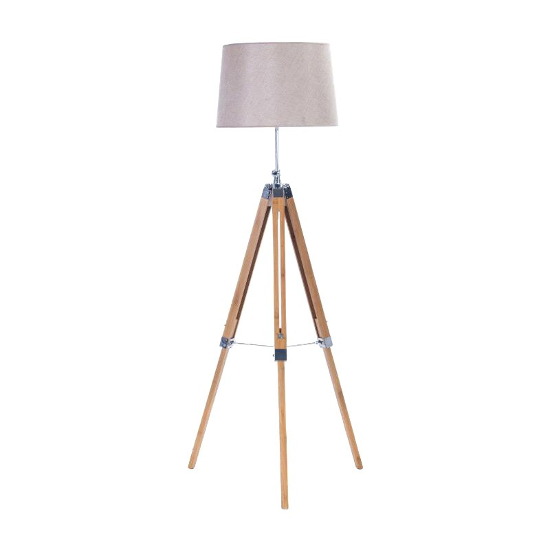 Lithgow Classic Timber Tripod Floor Lamp, Natural / Taupe
