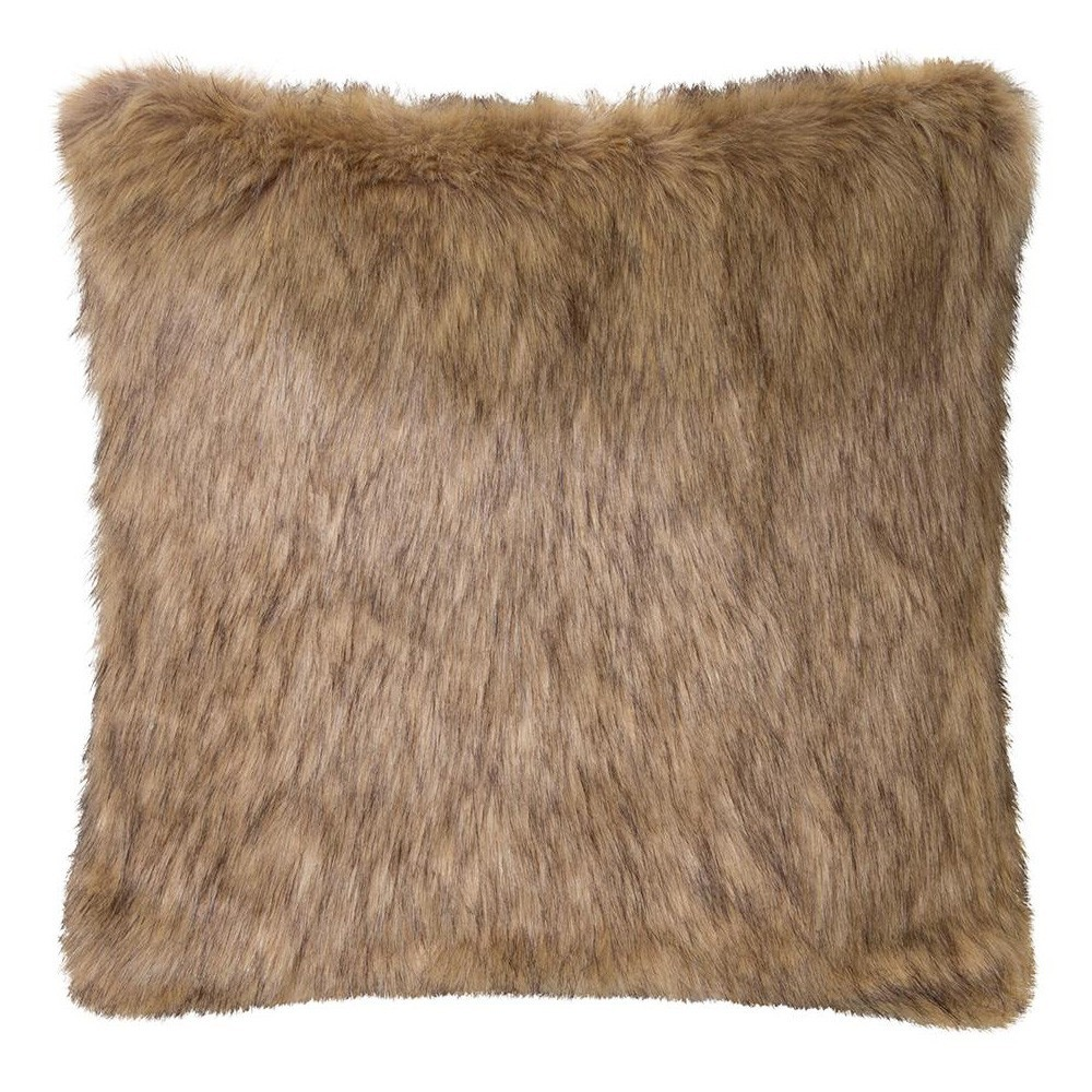 Grizzly Wolf Faux Fur Scatter Cushion