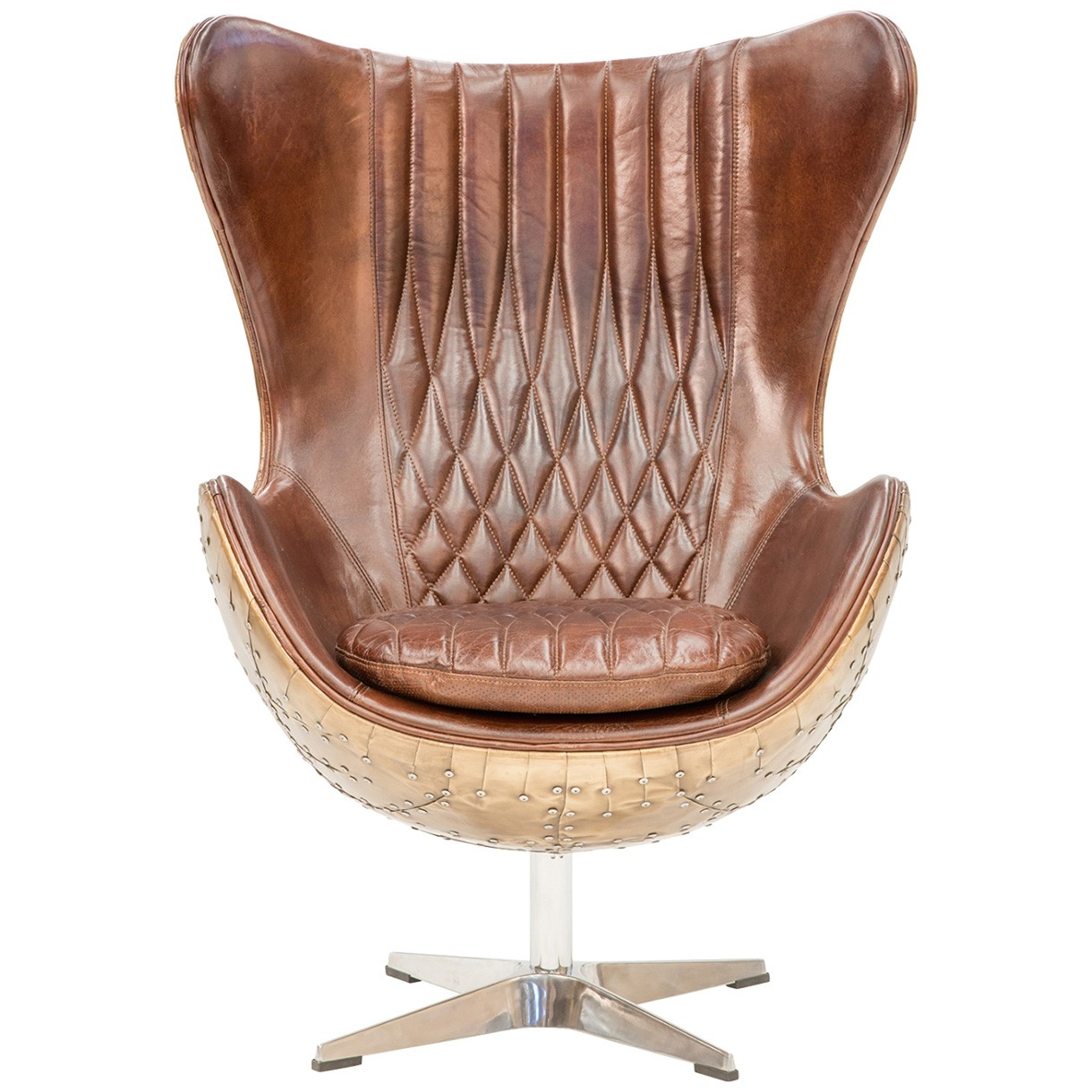Dudley Industrial Aged Leather & Alloy Swivel Egg Chair