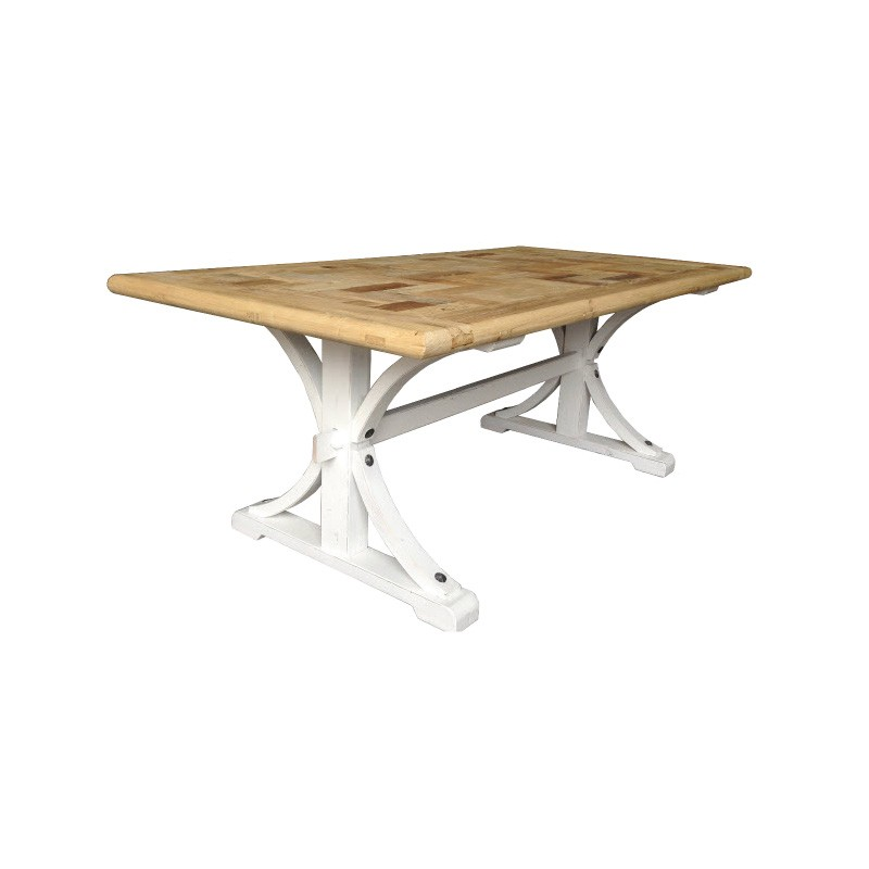 Leclerc Reclaimed Elm Timber Trestle Dining Table, 200cm, Natural / White
