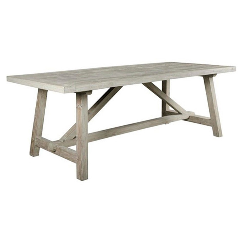 Varro Old Pine Timber Trestle Dining Table, 220cm
