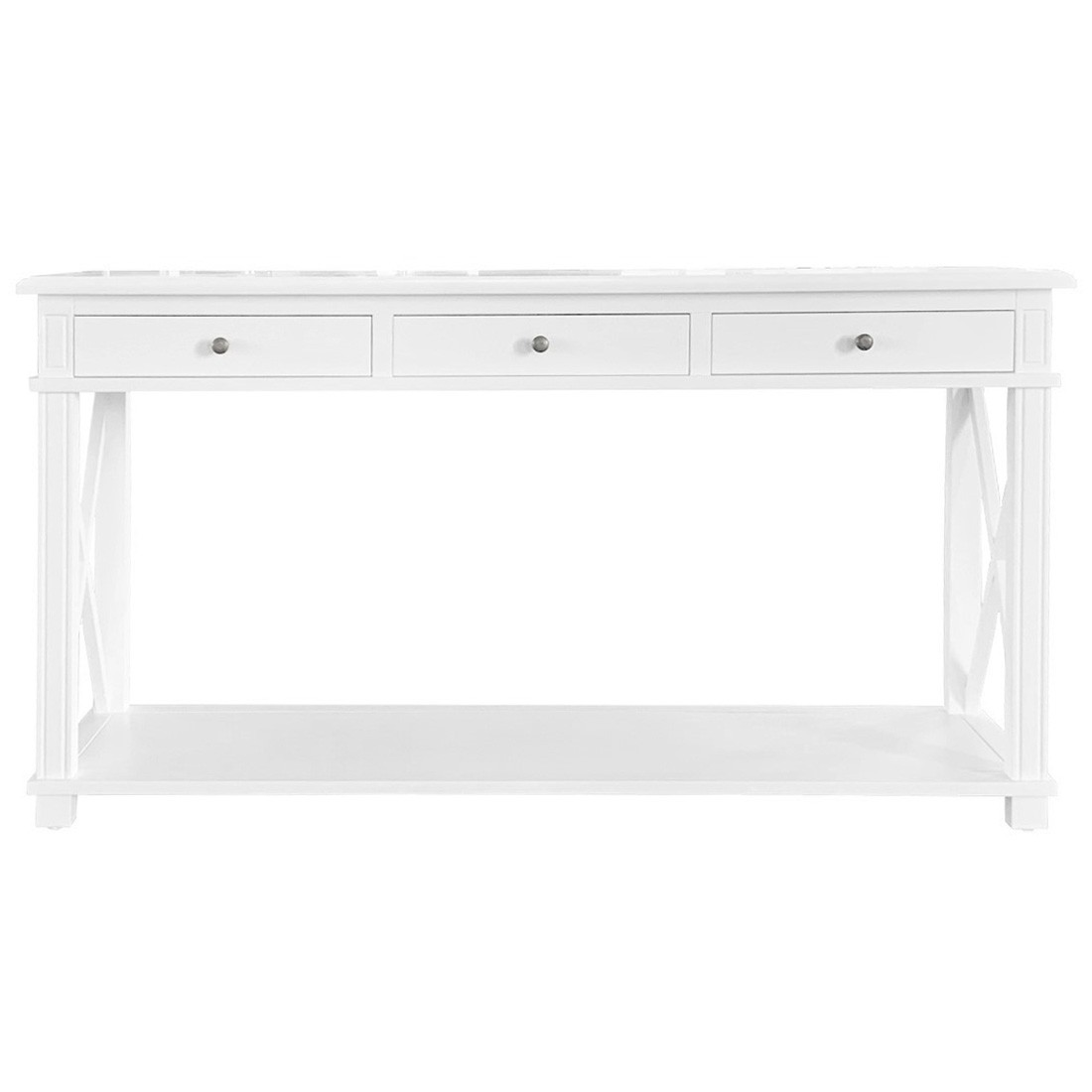 Phyllis Birch Timber 3 Drawer Console Table, 150cm, White