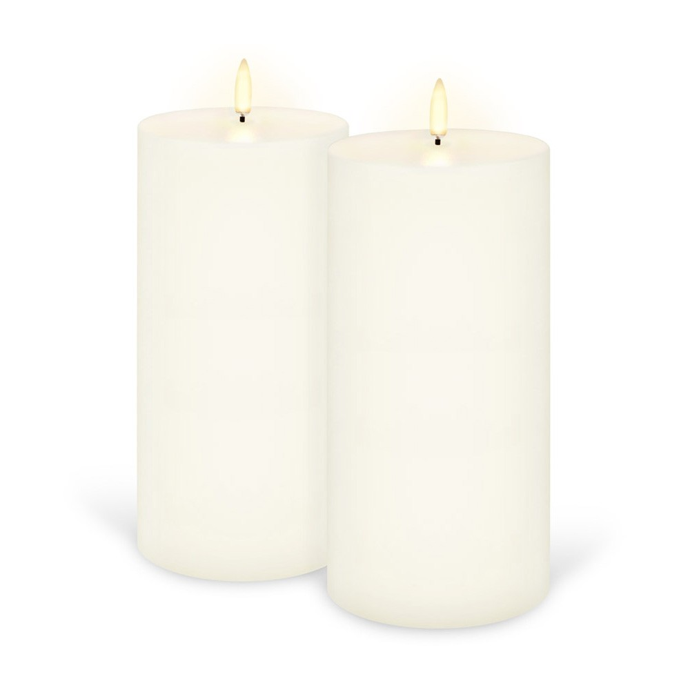 Uyuni Remote Enabled LED Wax Flameless Wide Pillar Candle, Set of 2, Tall, Classic Ivory
