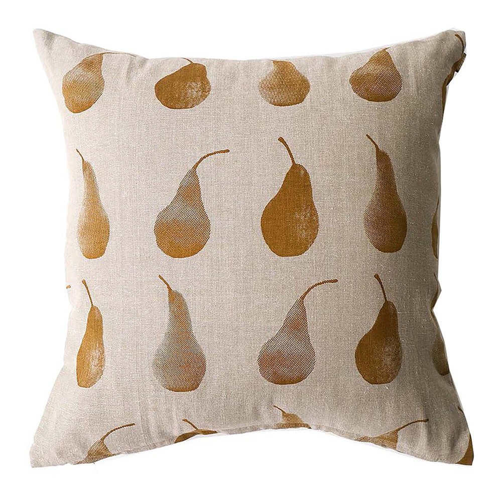 Abby Pear Feather Filled Cotton Scatter Cushion, Mustard