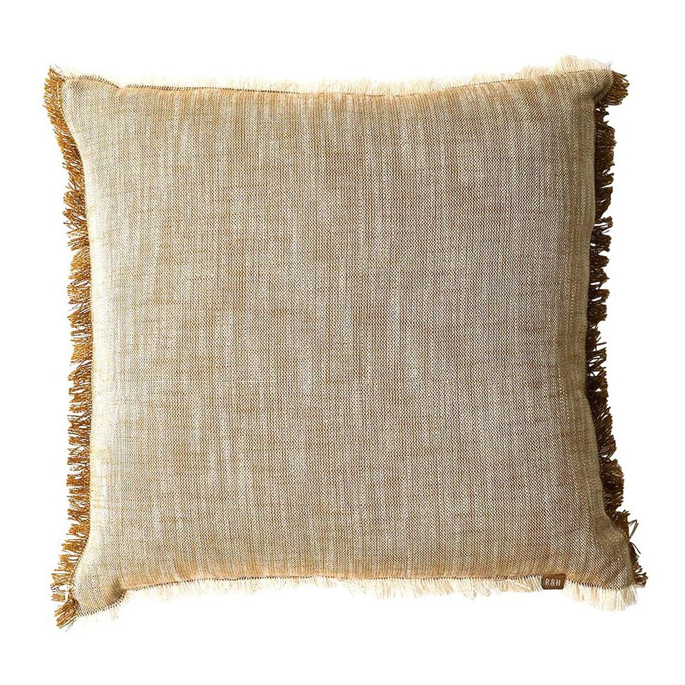 Slub Feather Filled Chambray Cotton Scatter Cushion, Mustard