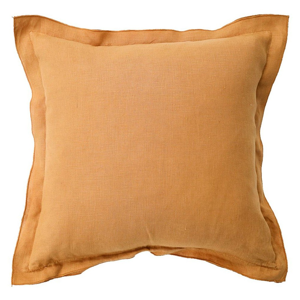 Louisa Feather Filled French Linen Frill Scatter Cushion, Camel