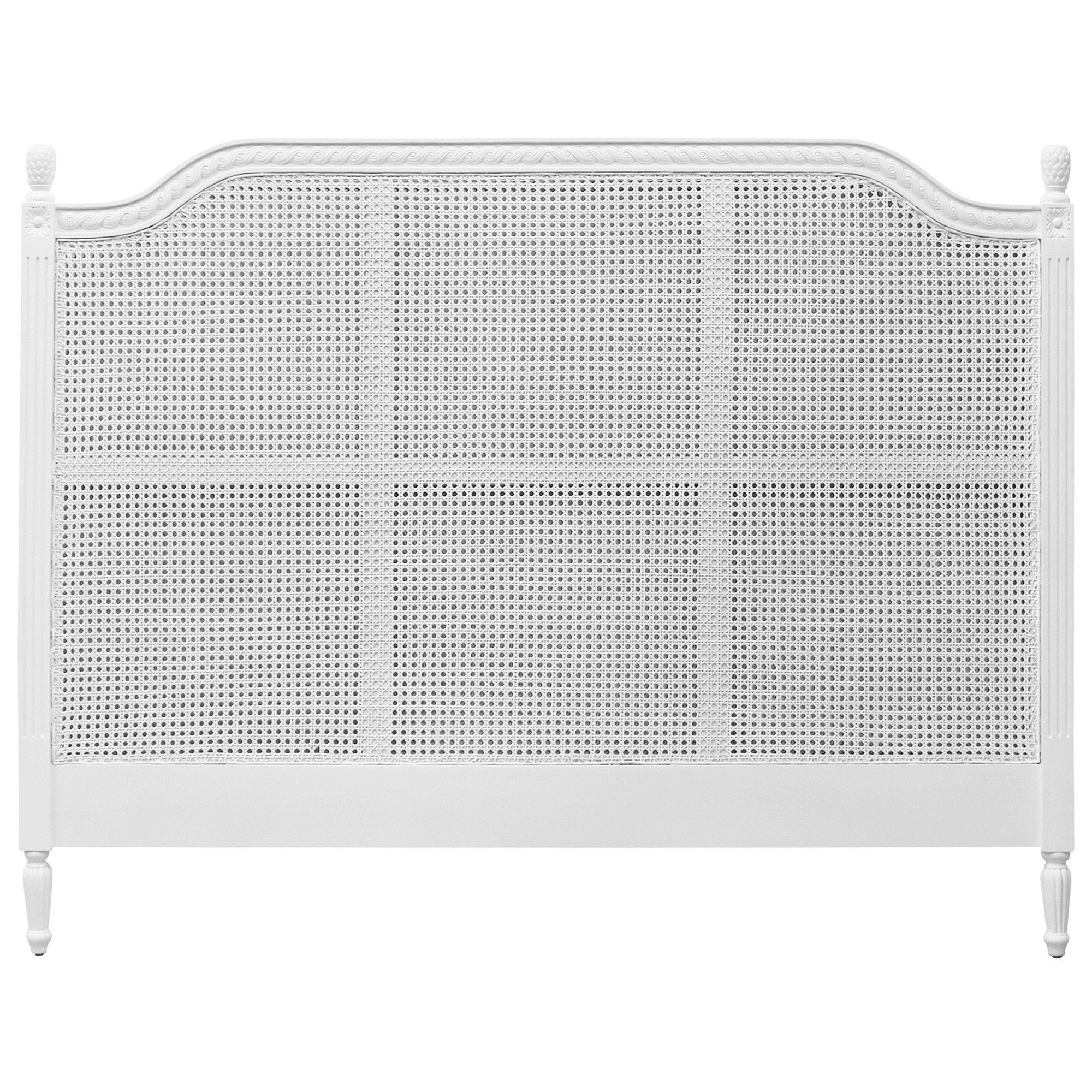 Lapalisse Hand Crafted Mahogany Timber & Rattan Bed Headboard, King, White