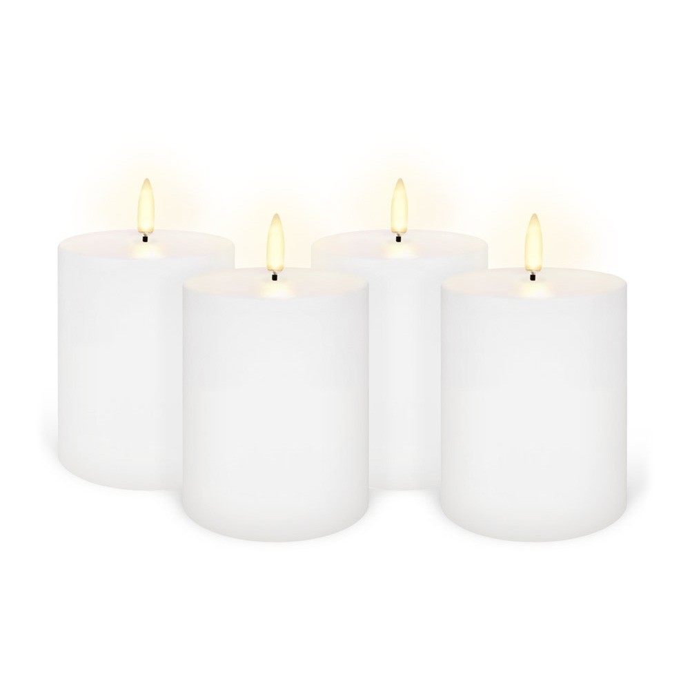 Uyuni Remote Enabled LED Wax Flameless Pillar Candle, Set of 4, Small, Nordic White
