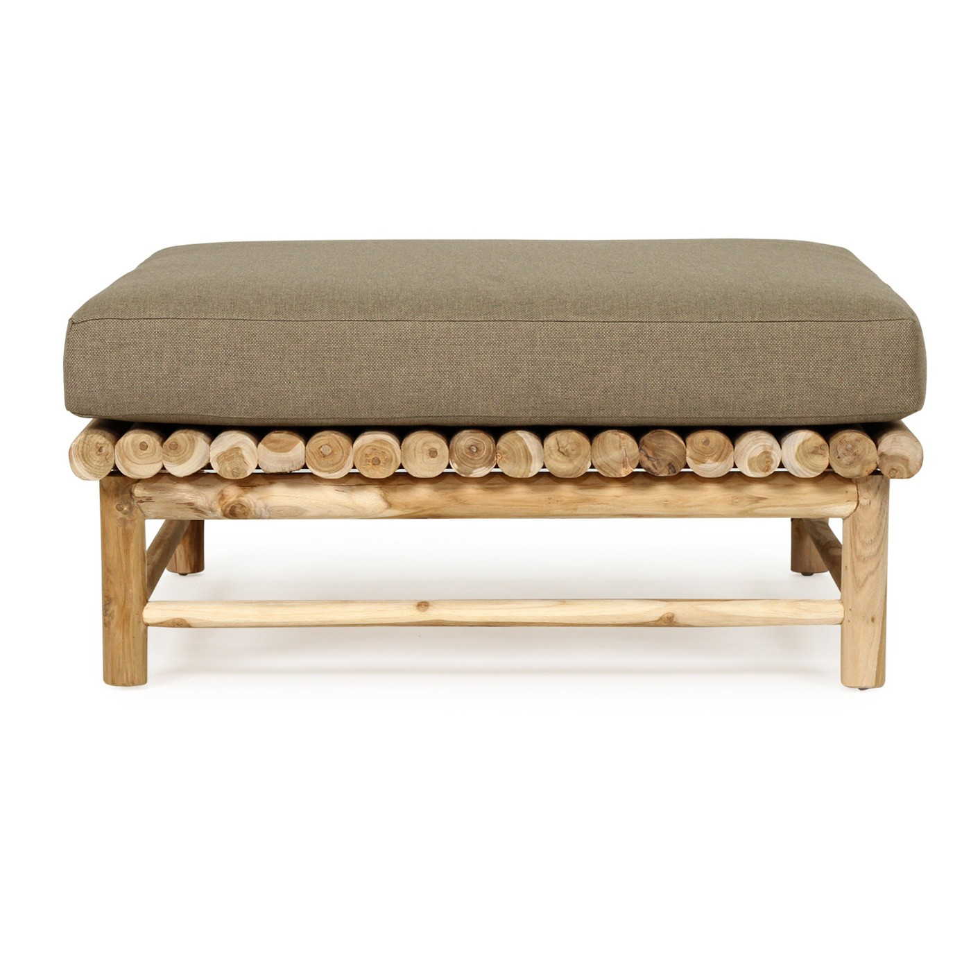 Neveah Teak Timber Square Coffee Table with Cushion, 90cm