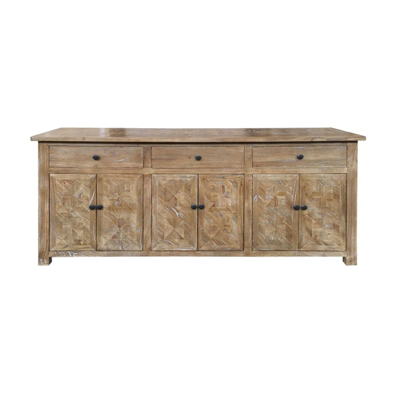 Fauchey Reclaimed Elm Timber 6 Door 3 Drawer Buffet Table, 200cm, Natural