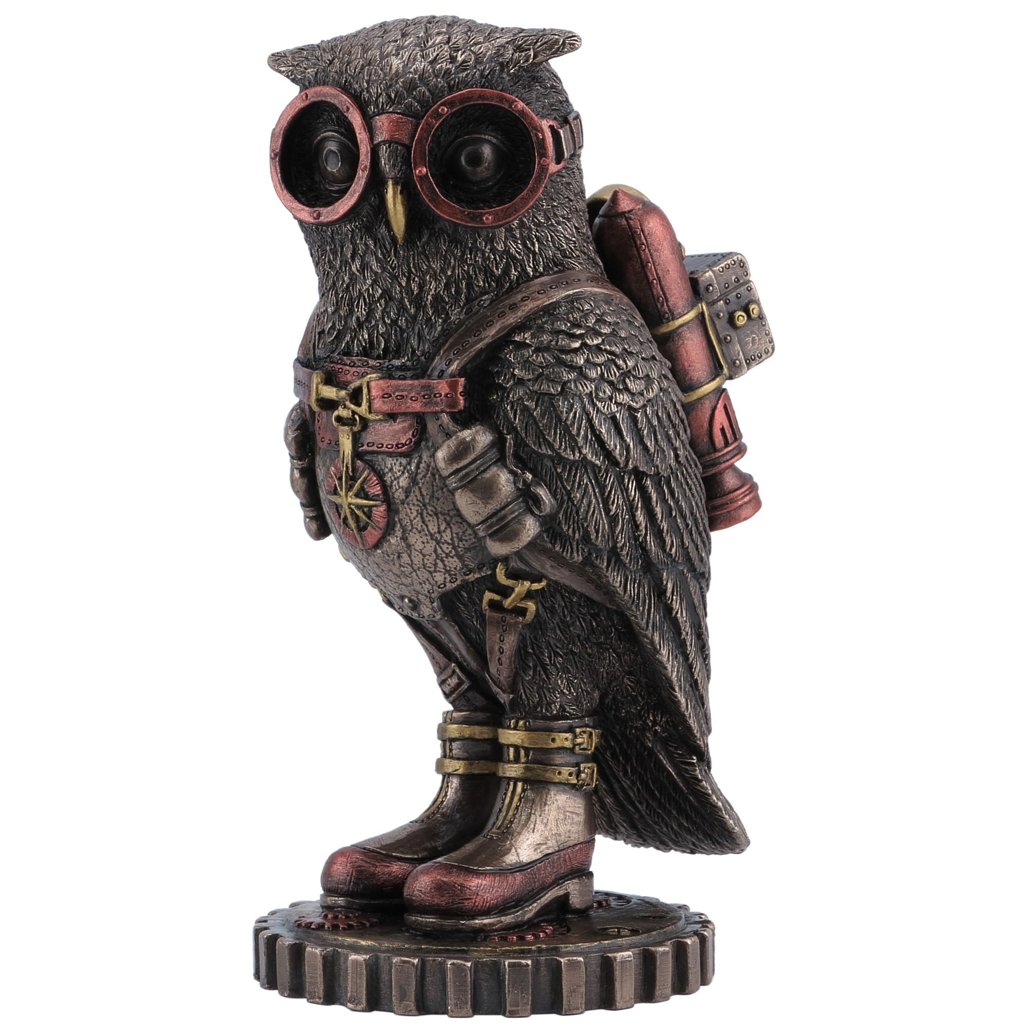 Veronese Cold Cast Bronze Coated Steampunk Statue, Owl with Jetpack