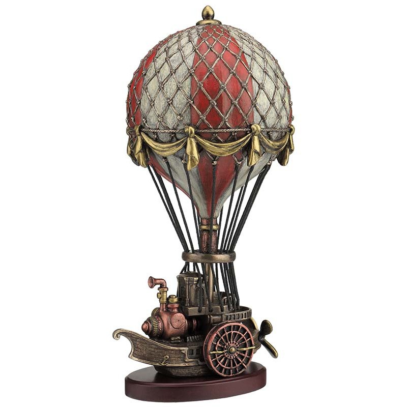 Veronese Cold Cast Bronze Coated Steampunk Statue, Hot Air Balloon