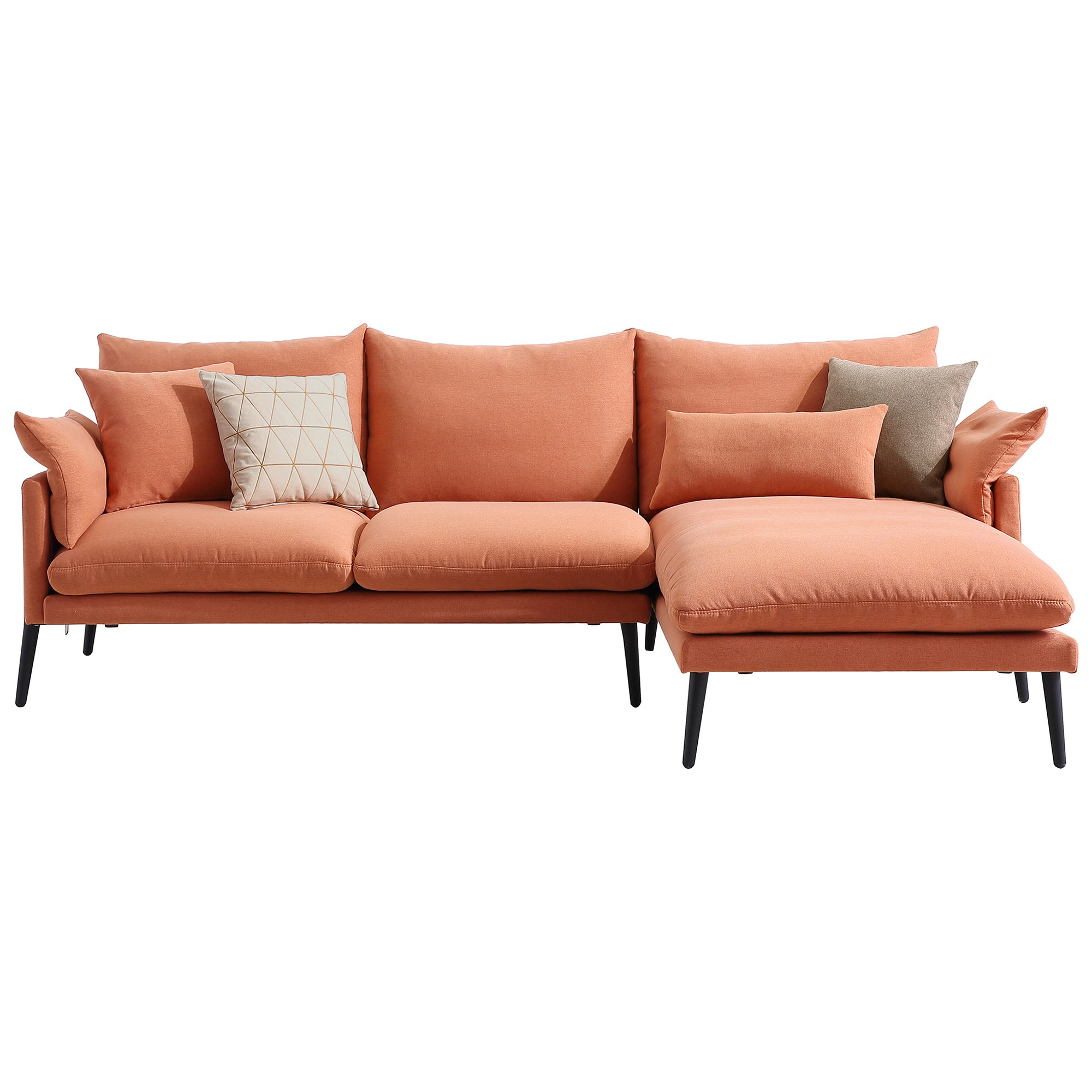 Tilly Fabric Corner Sofa, 3 Seater with RHF Chaise, Copper