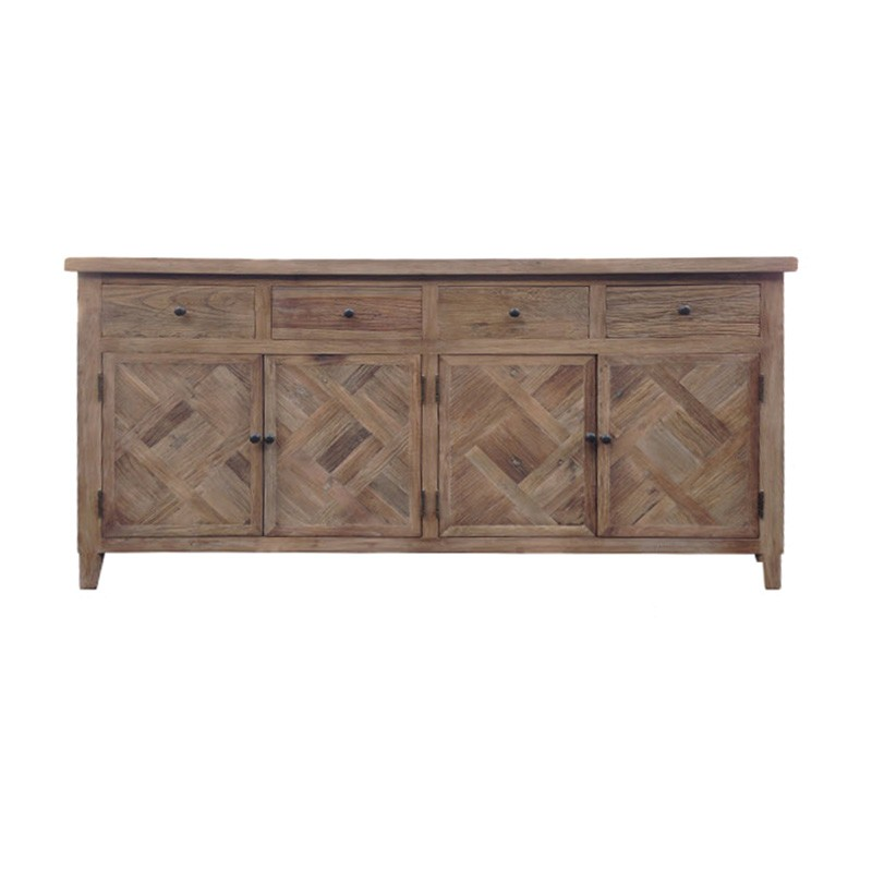 Morocco Reclaimed Elm Timber 4 Door 4 Drawer Buffet Table, 180cm