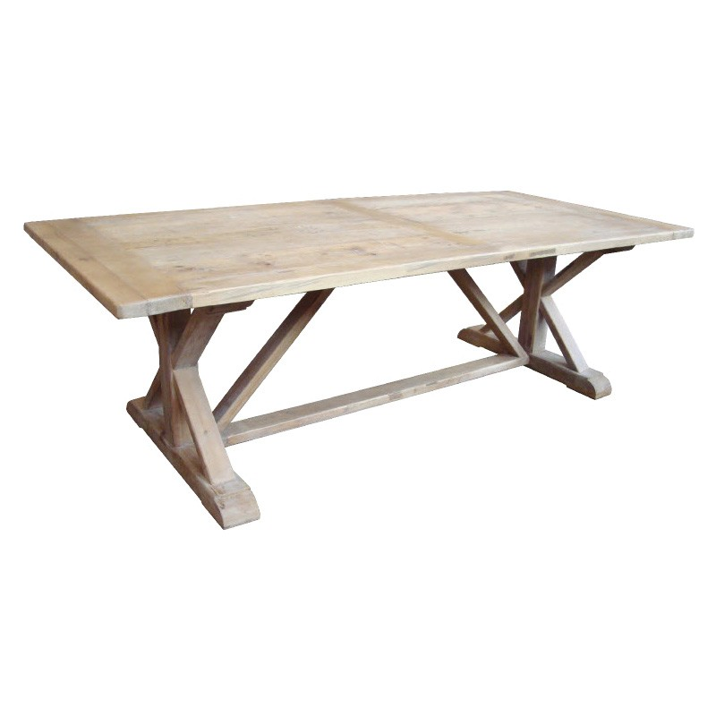 Montlouis Reclaimed Timber Trestle Dining Table, 245cm