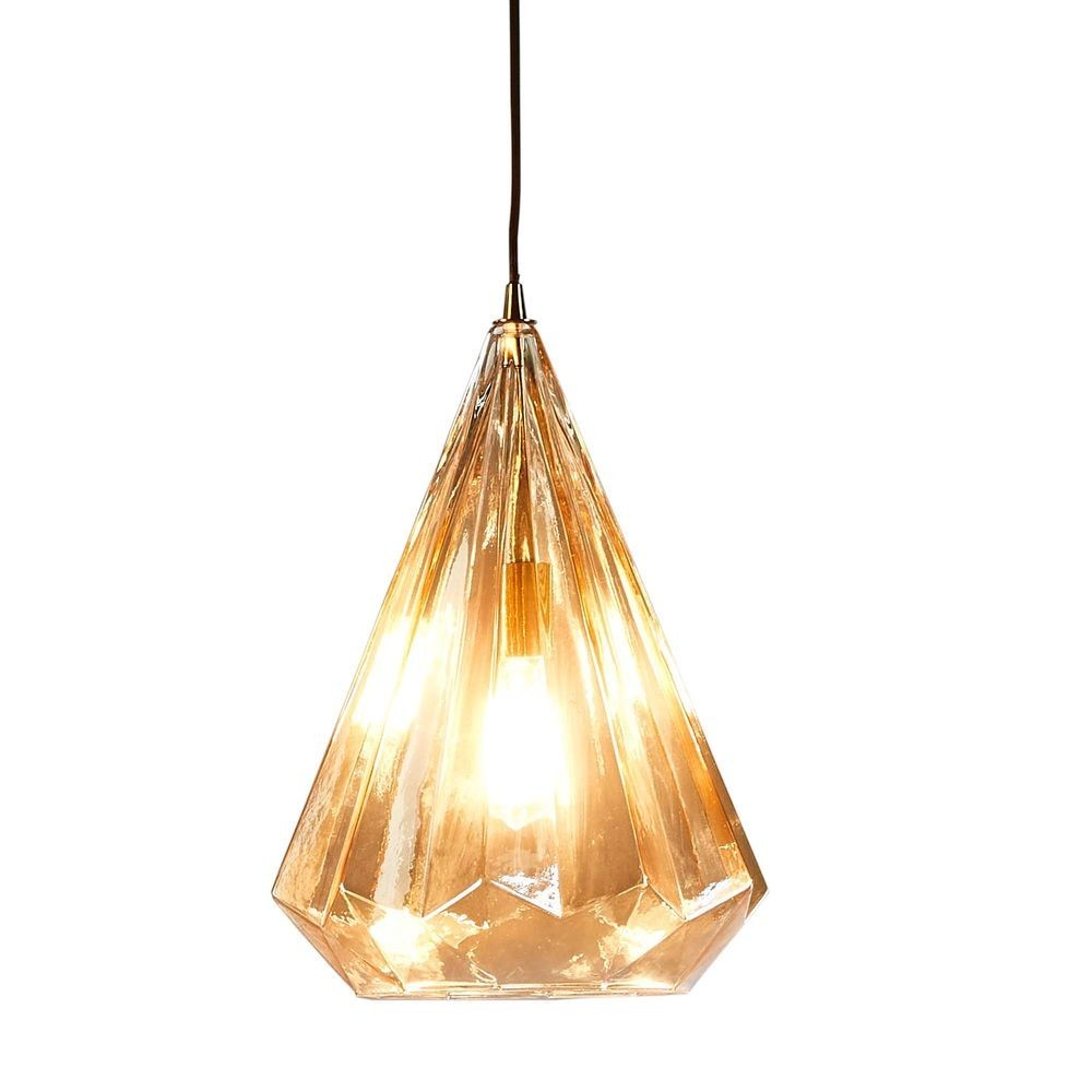 Kimberly Faceted Glass Pendant Light, Large, Champagne