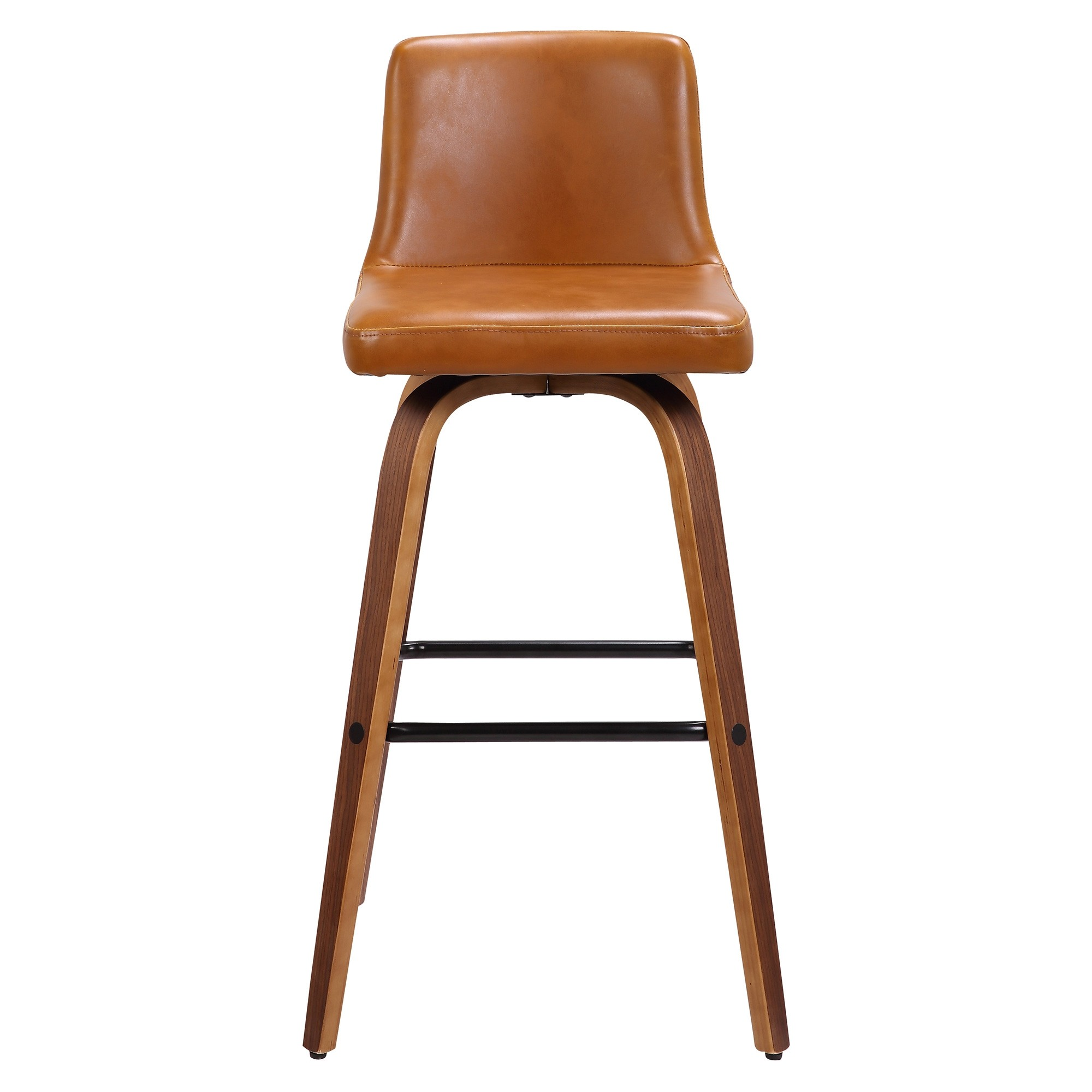 Matera Commercial Grade Bentwood Swivel Bar Chair, Faux Leather Seat, Tan / Walnut